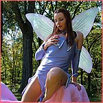 Naughty nymph Amberlily outside in satin lingerie!