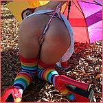 AmberLily getting naughty outside with a thong cameltoe!